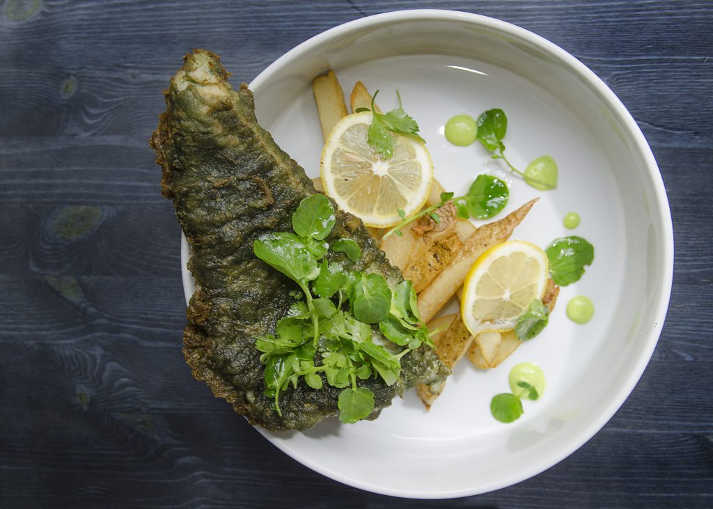 Atlantic pollock with matcha and spirulina tempura