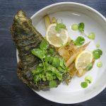 Atlantic pollock with matcha and spirulina tempura